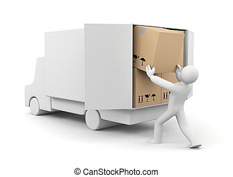 People unload a car - People at work metaphor. Isolated on...