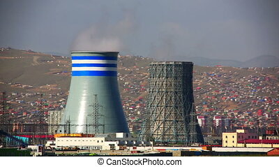 Power station and Ulaanbaatar cityscape, Mongolia