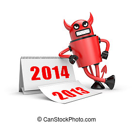 Devil with calendar - Illustration for New Year and...