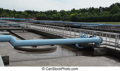 waterworks pools pipes - Water treatment waterworks basins...