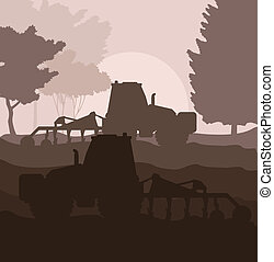 Tractor plowing the field vector background for poster