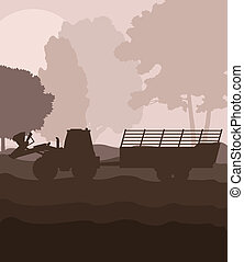 Tractor with trailer vector background vector