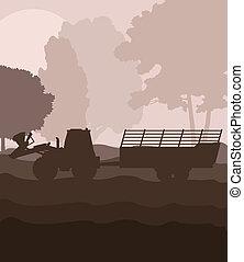 tractor, remolque, vector, Plano de fondo