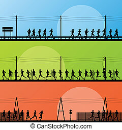 Marathon runners in country road highway landscape...