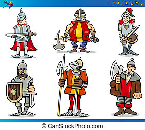 Cartoon Fantasy Knights Characters Set - Cartoon...