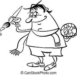 painter artist cartoon coloring page - Black and White...