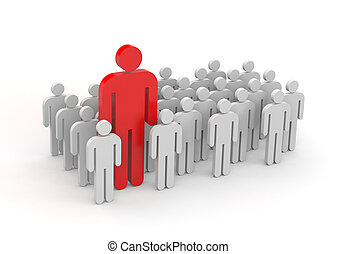 Standing out from the crowd - Leadership concept Isolated on...