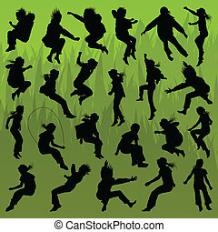 Jumping children girl and boy detailed silhouettes illustration collection background vector