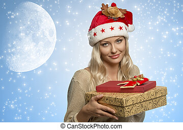 woman with xmas hat and presents