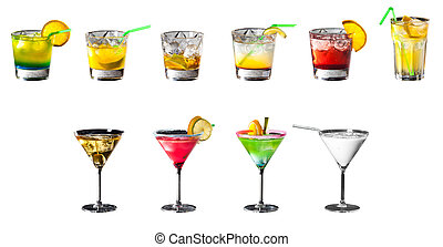 Set of colorfull coctails isolated on white background - Set...