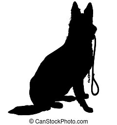 Shepherd with Leash - Silhouette of a German Shepherd...