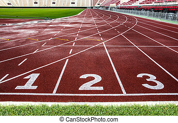 Red running track in The National Stadium of Thailand or...