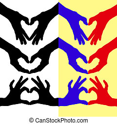 Heart folded hands . - Heart folded colored contours of the...