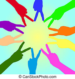 Multi-colored hands . - Ten multi-colored hands folded sun...