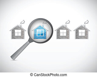 looking for a house. magnify illustration design