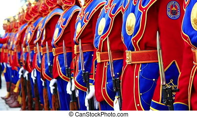 Mongolian army in traditional outfit during Naadam festival,...