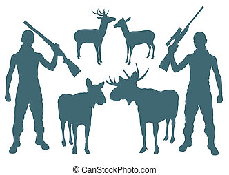 Hunter and deer vector background