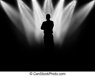 Scene - Black silhouette of the person against background...