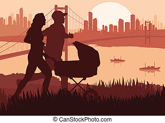 Marathon runners detailed active man and woman illustration