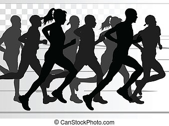 Marathon runners detailed active man and woman illustration...