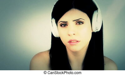 Music makes me cry - Sad woman crying listening music