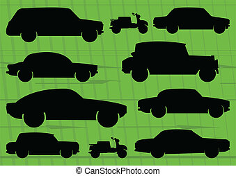 Environmental cars and transportation illustration