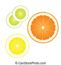 Orange, lemon and lime abstract background
