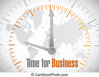 time for business world map illustration