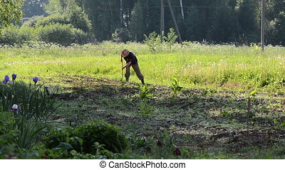 farmer in garden - farmer with straw hat grub up weeds in...