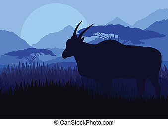 Gazelle in wild Africa mountain landscape vector - Gazelle...