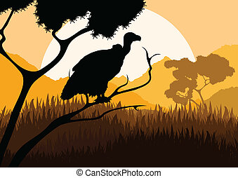 Vulture bird hunting in wild nature landscape vector -...