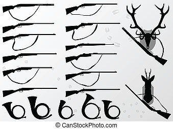Hunting rifles and weapons, deer head horns trophy and hunting horn