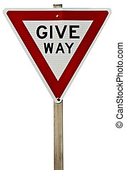 Give Way Sign - A traffic give way sign isolated on white