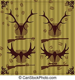 Deer and moose horns hunting trophy illustration collection