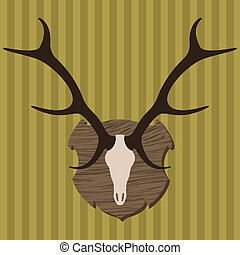 Moose head horns hunting trophy illustration vector - Moose...