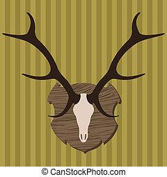 trofeo, alce, caza, cabeza, Ilustración,  vector, cuernos
