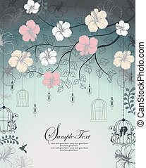 Invitation Card - wedding invitation card with bird cage
