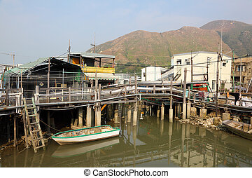 Chinese fishing village Tai O in Hong Kong, China