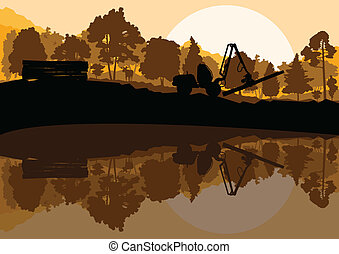 Forestry logger tractor in forest landscape vector