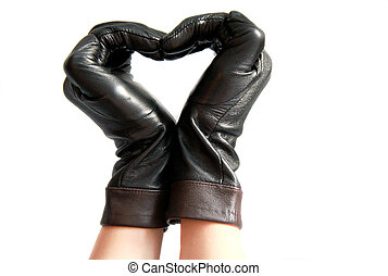 Woman gloves - Black leather woman gloves