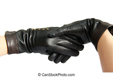 Black leather woman gloves
