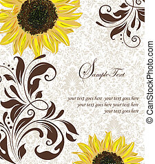Invitation Card - Sunflower Wedding Invitation. Brown and...