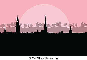City landscape vector background in evening sunset for...