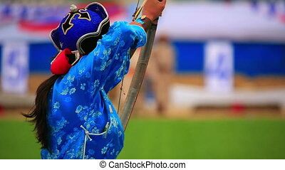 Naadam Festival Archery Tournament - Archer at Naadam...