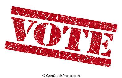 Vote red grunge stamp