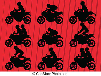 Motorcycles silhouettes illustration vector background