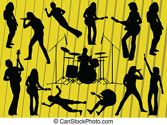 Rock musicians silhouettes illustration collection...