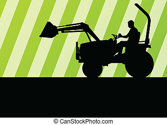 Front loader vector abstract background concept for poster