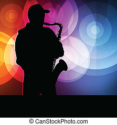 Saxophone player vector background neon concept for poster