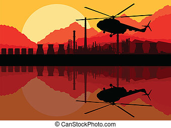 Industrial oil refinery factory landscape background with army helicopter illustration vector